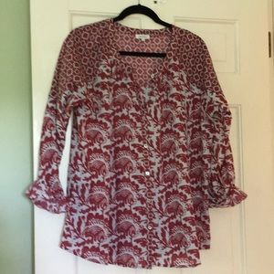 Berry and light blue pattern button front blouse
